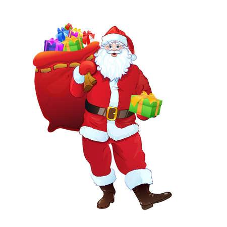 크리스마스 휴가 선물의 전체 산타 클로스 선물 상자 자루