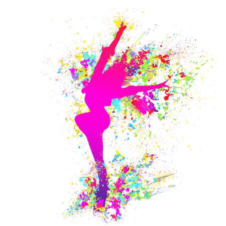 bailarines silueta: colorida chica bailando baile chapoteo de la pintura en el fondo blanco. Vector Vectores