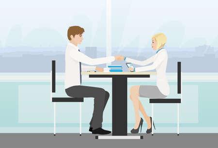 signing: Business people handshake meeting signing agreement Illustration