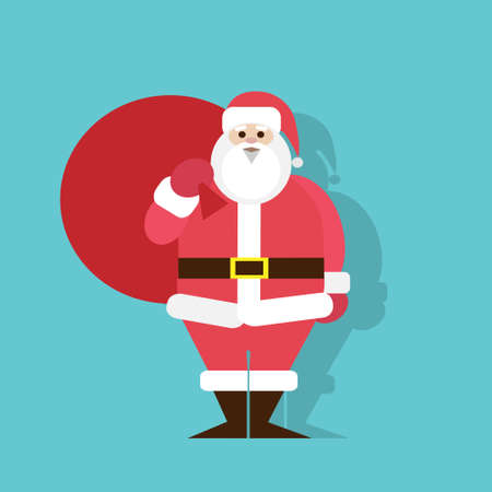 Santa Claus Cartoon flat icon design christmas Illustration