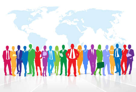 colleague: Business people group colorful silhouette concept