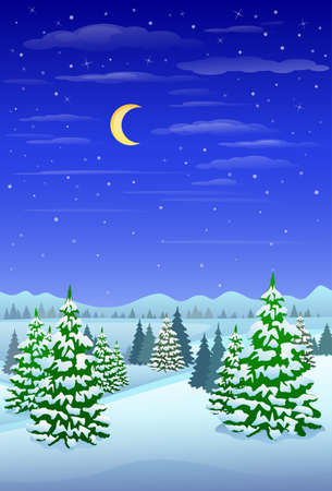 winter forest: winter forest landscape christmas trees woods Illustration