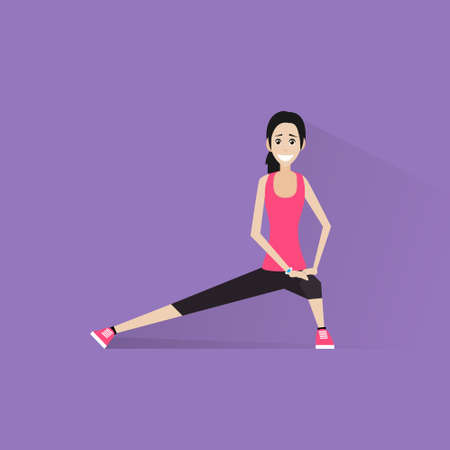 physical exercise: sport fitness woman exercise workout girl flat icon