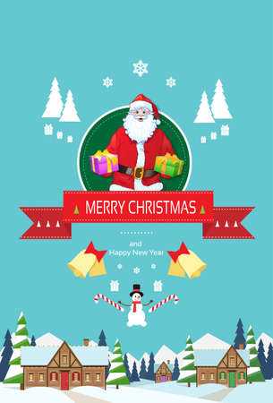 house of santa clause: Santa claus on christmas greeting card holding gift box