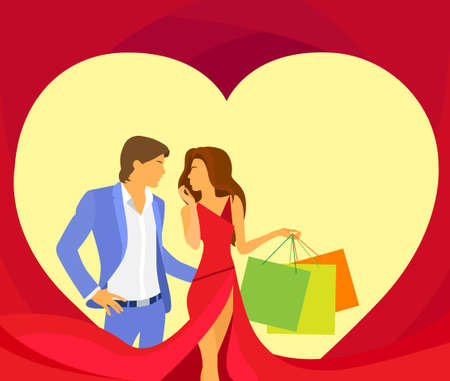 holiday shopping: valentine day holiday shopping couple in heart shape, Valentines gift card Illustration