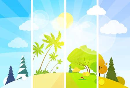 four: four season concept landscape flat design vector