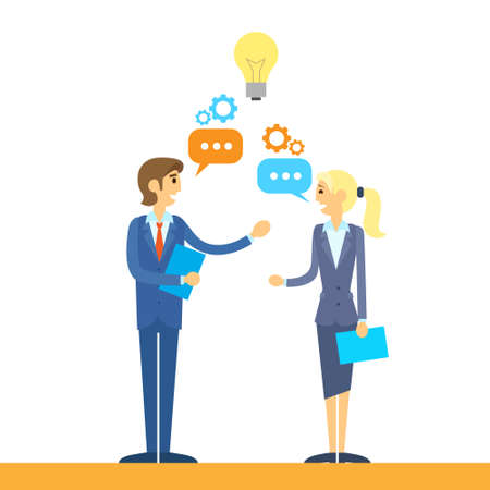 business people talking discussing idea flat design vector illustration  イラスト・ベクター素材