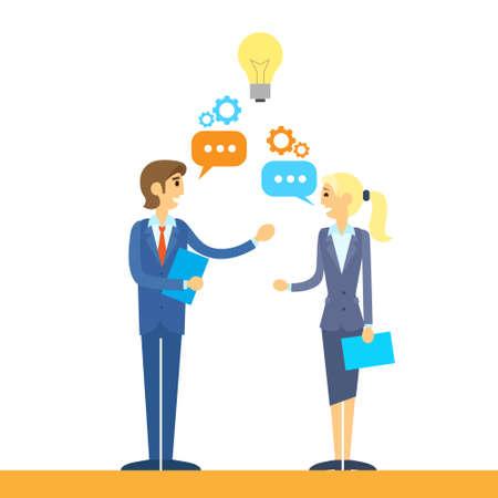 business people talking discussing idea flat design vector illustration Illustration