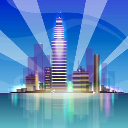 night skyline: City skyscraper view cityscape background night skyline with spotlights reflecting vector illustration