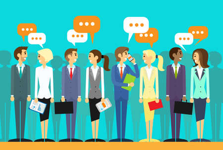 sharing information: business people group talking discussing chat communication social network flat icon design vector illustration Illustration