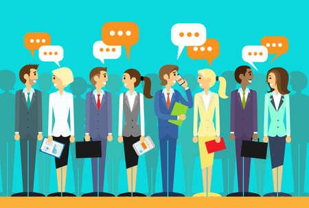 gente comunicandose: grupo de personas de negocios hablando chat comunicación discussing red social icono plana ilustración vectorial de diseño Vectores