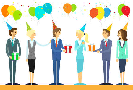 business event: business people group celebrate birthday holiday event vector illustration Illustration