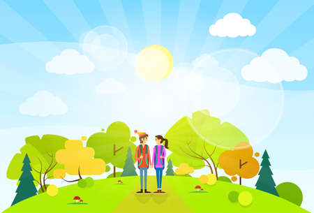 couple hiking: tourist couple with backpack over summer landscape mountain forest road flat design vector illustration