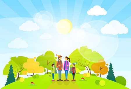 tourist family with backpack over summer landscape mountain forest road flat design vector illustration Vector