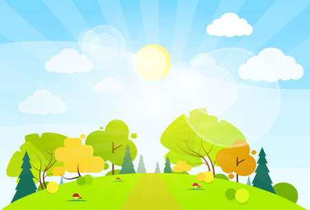 forest: summer landscape mountain forest road blue cloud sky with sun green grass and tree woods flat design vector illustration