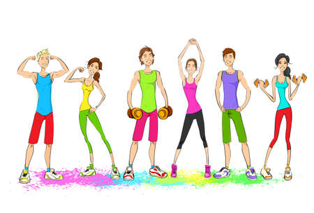 group fitness: Group of young sport people, colorful clothes man and woman fitness trainer, bodybuilder athletic muscle isolated on white background
