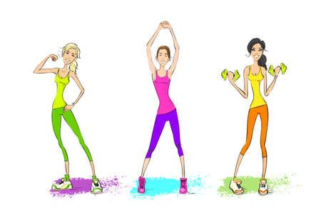 bicep: Mujer del deporte espect�culo b�ceps entrenador muscular sostener pesas, chica culturista atl�tico aislado m�s de fondo blanco Vectores