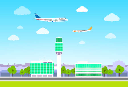 landing: airport terminal with aircraft flying flat design vector Illustration