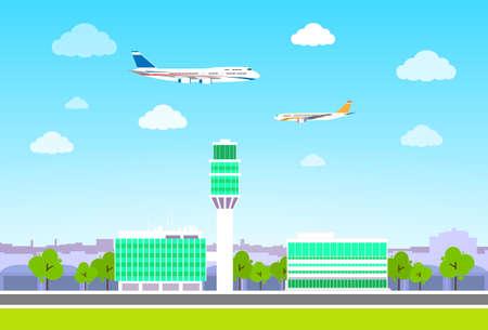 terminal van de luchthaven met vliegtuigen vliegen plat ontwerp vector
