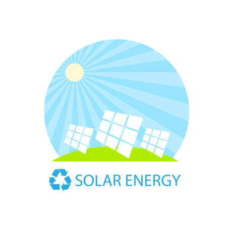 conservation: solar energy panel battery on blue sky geen grass flat design