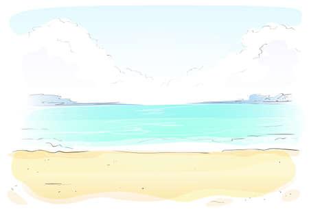sand beach: Sea Shore Sand beach Summer vacation. Vector