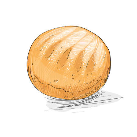 bread loaf: bread loaf sketch draw isolated over white