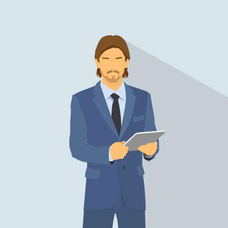 silueta hombre: Desgaste computadora Empresario traje bodega tableta moda elegante, hombre de negocios icono plana vector