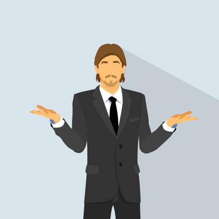 confundido: hombre expresi�n confusa espera la palma hacia arriba pregunta, gesto de mano inesperado de ninguna idea, hombre de negocios dudosos plana Vectores
