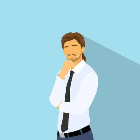 hand on chin: Businessman think hold hand on chin, business man flat icon
