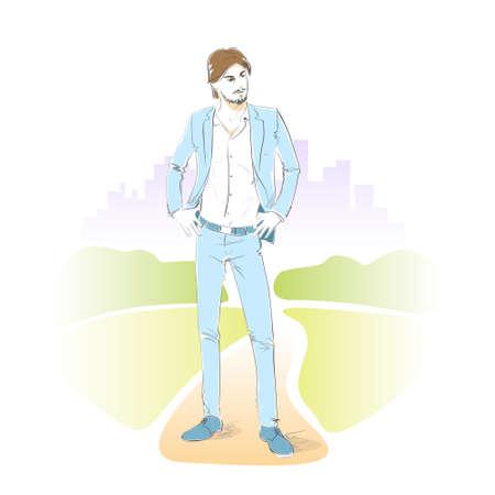 Moda hombre parque al aire libre, modelo masculino desgaste traje azul