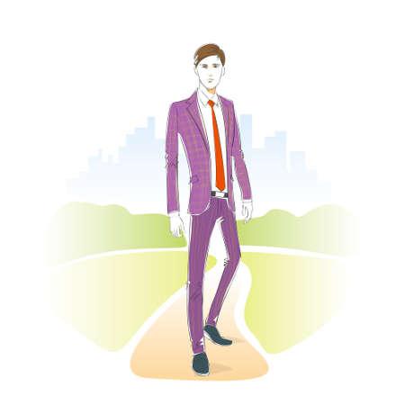 male model: Fashion man park outdoor, male model wear suit vector Illustration