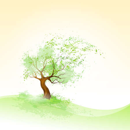 blowing wind: green tree with leaves blowing wind and brown bark vector Illustration