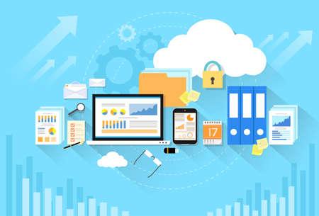 caja fuerte: La seguridad de almacenamiento del dispositivo ordenador nube de datos dise�o plano Vectores