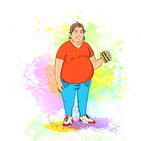 unhealthy: Hombre gordo con sobrepeso comer hamburguesa, comida r�pida basura, el concepto de dieta poco saludable sobre fondo multicolor pintura salpicadura,