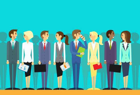 persona de pie: grupo de personas de negocios de los recursos humanos del vector plana