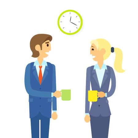 coffe break: business people drink coffe break flat design Illustration