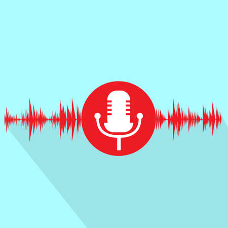 microfono de radio: micrófono icono rojo con la onda de sonido diseño plano vector