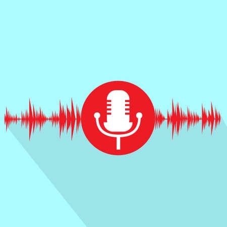 microfoon rood pictogram met een geluidsgolf plat ontwerp vector