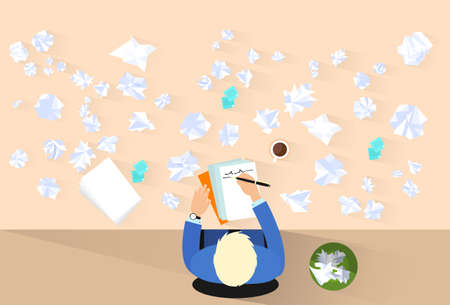 businessman pen write, crumpled papers around, problem concept Illustration