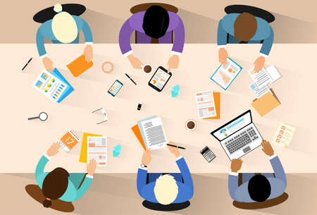 business desk: Business people workplace top angle above view sitting at office desk work vector illustration