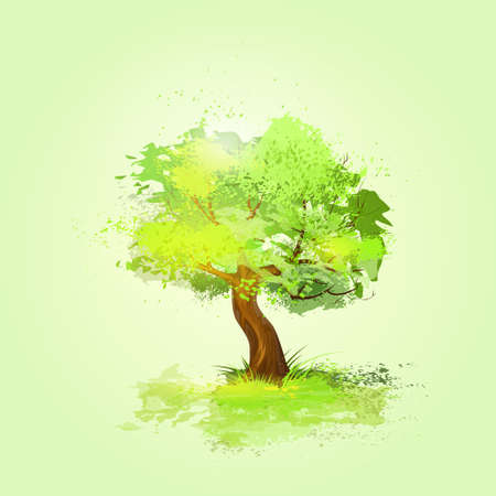 green tree with leaves and brown bark vector
