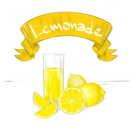 lemonade banner text sign with glass and yellow lemon isolated Vector