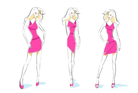 supermodel: fashion woman sketch pink dress design set vector