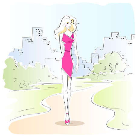 woman sketch: fashion woman sketch pink dress outdoor vector Illustration