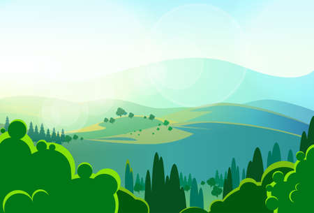 summer green mountains tree valley landcape vector
