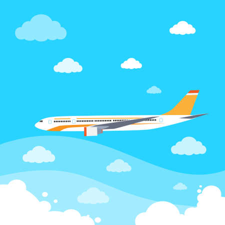 air liner: aircraft flat design style vector illustration airplane flying in sky