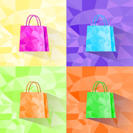shopping bag set polygon style colorful design