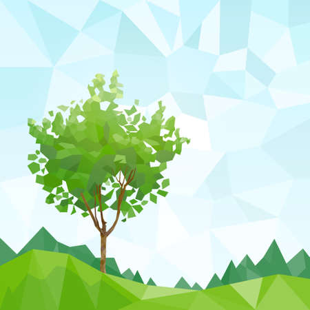 tree green leaves polygon graphic with copy space Vector