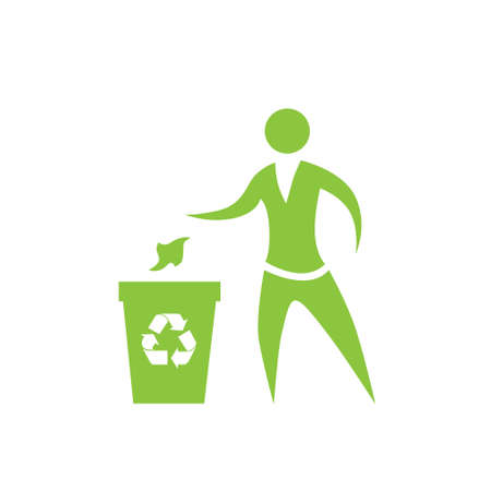 paper recycling: Person throw rubbish to recycle bin symbol vector icon