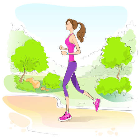 jogging in park: sport woman run with fitness tracker on wrist girl runner jogging in park outdoors training
